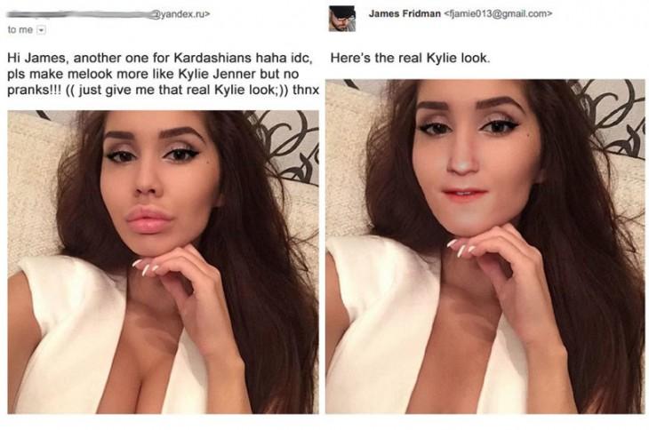 james fridman, foto de mujer que buscaba parecerse a Kylie Jenner