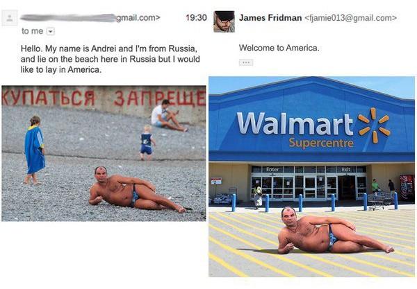james fridman, foto de hombre acostado con bikini frente a estacionamiento de Walmart