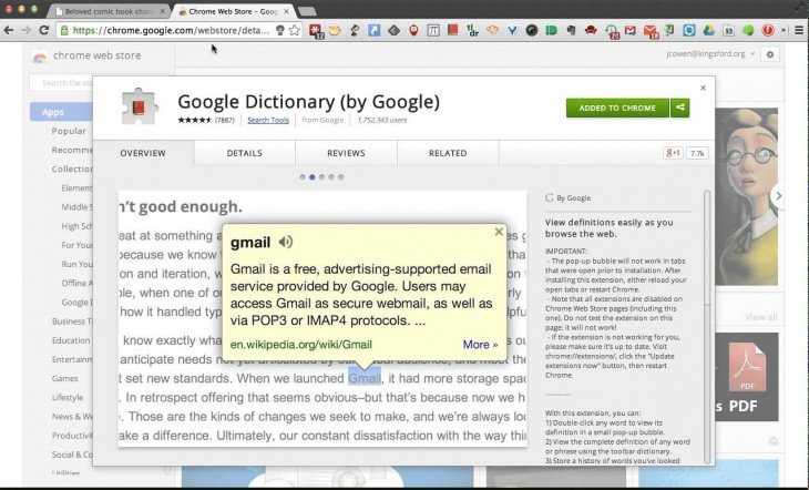 extensión chrome google dictionary