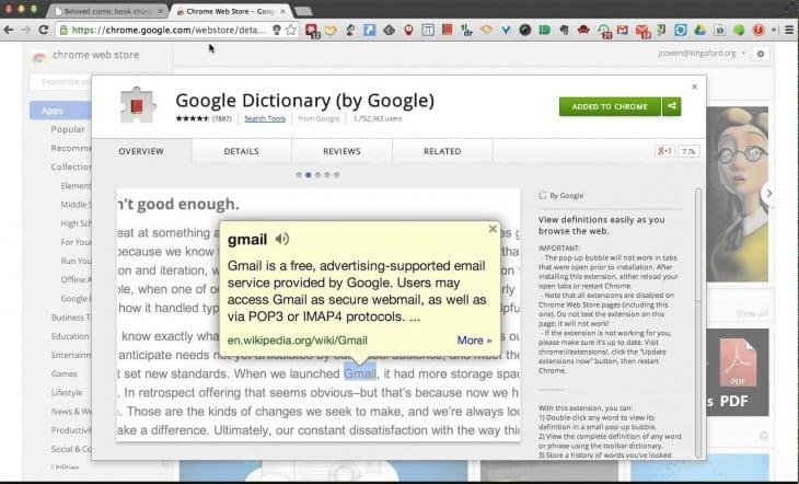 extensión chrome google dictionary