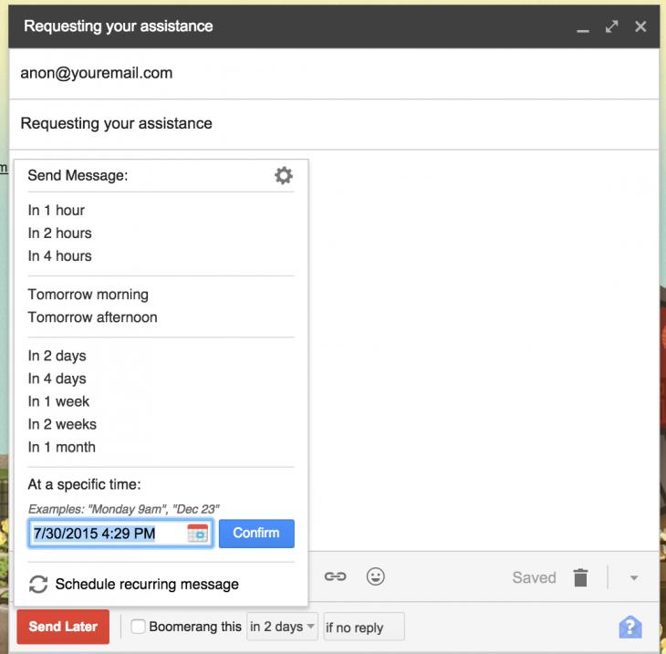 extensión chrome para programar envio de mails