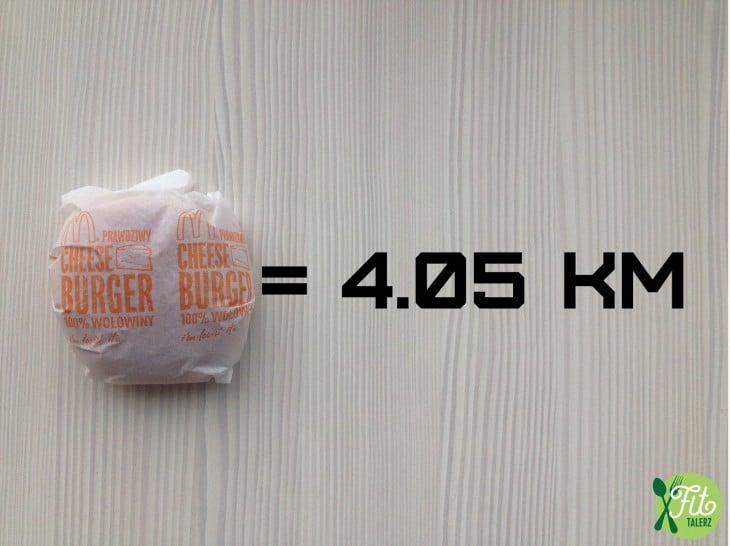Cada hamburguesa, 4.05 km. Sí, las chiquitas