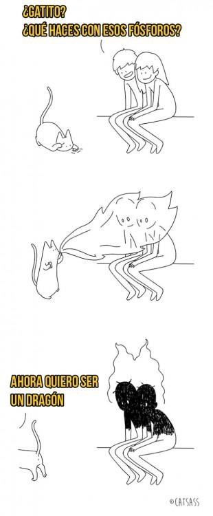 ilustración de gato prendiendo en fuego a sus dueños