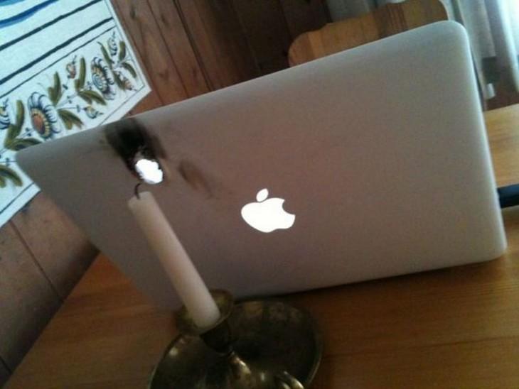 vela quema computadora