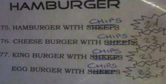 menú hamburguesas con ovejas