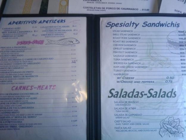 menú spesialty sandwichis
