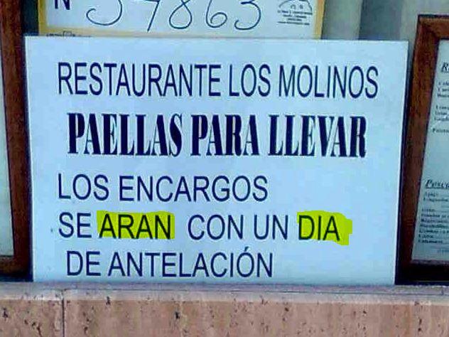 Anuncio restaurante con faltas de ortografía