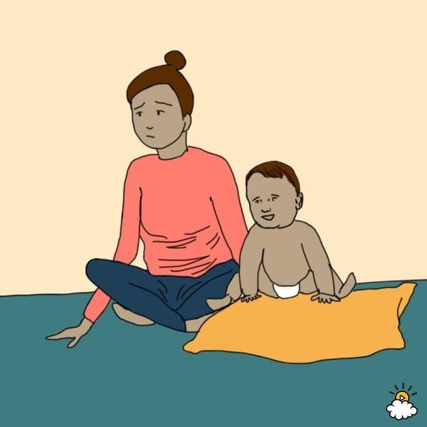 ilustración de mujer y bebé sentados en el piso