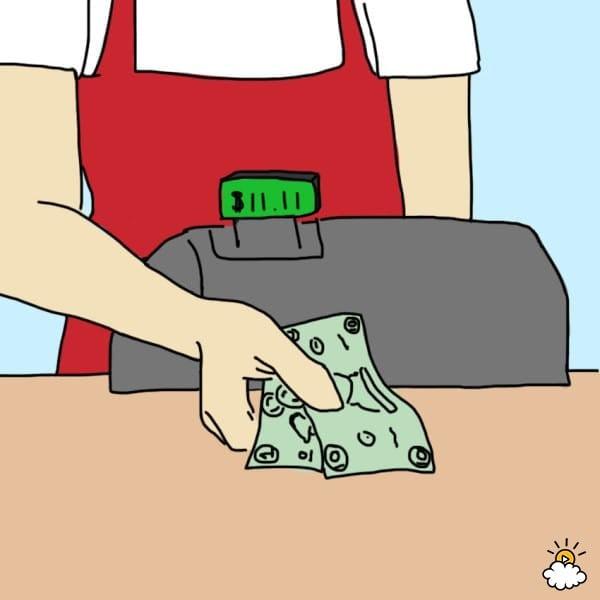 ilustración de cajero entregando dinero $11.11