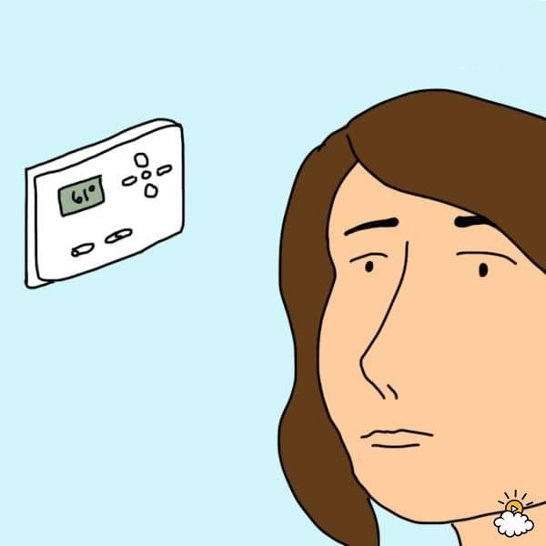 ilustración de persona frente a un termostato