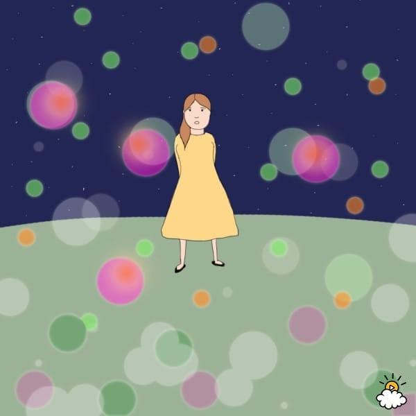 ilustración de persona rodeada de luces de colores