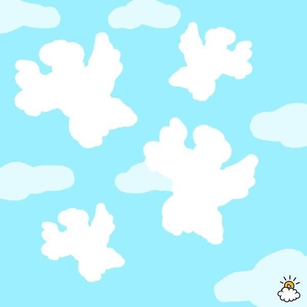 ilustración de nubes con forma de ángeles