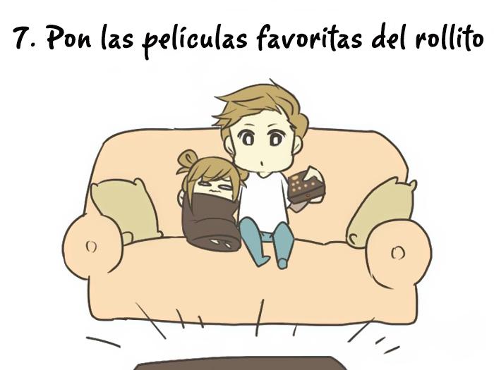 ilustración de cómo cuidar a una persona triste poniéndola a ver películas