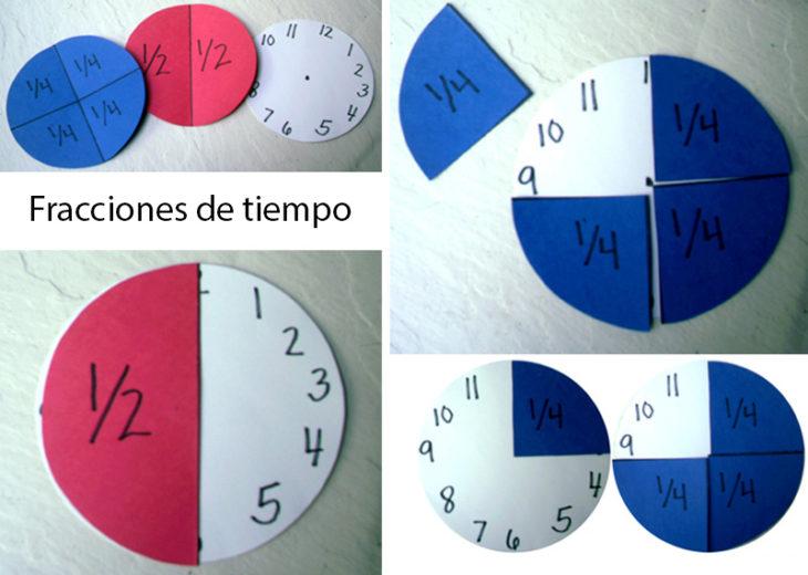 reloj para aprender las fracciones