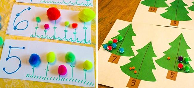 truco de las bolitas de colores sobre plantas y árboles para aprender los números