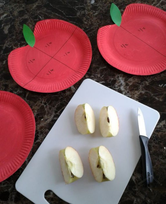 aprendiendo fracciones con manzanas