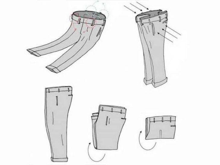 proceso de cómo doblar pantalones