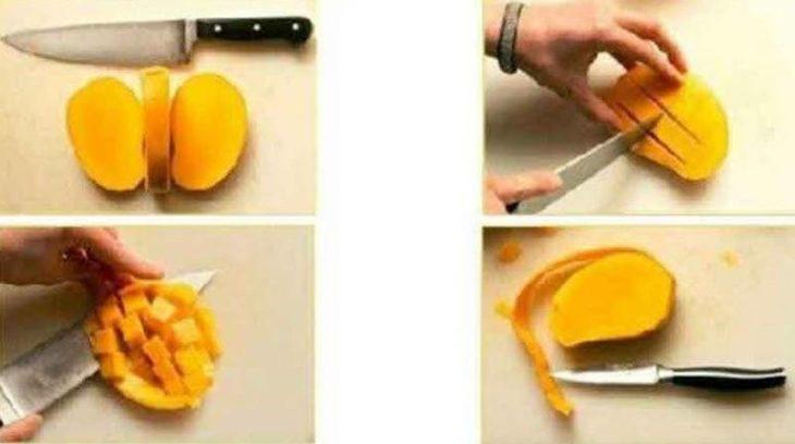 procedimiento de cómo partir un mango