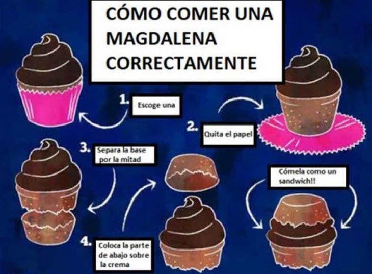 explicación de cómo comer cupcakes