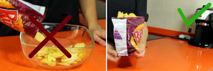 manera correcta de comer papas fritas