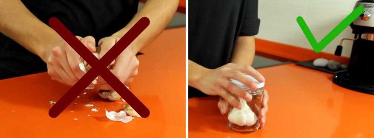 cómo pelar un ajo dentro de un frasco