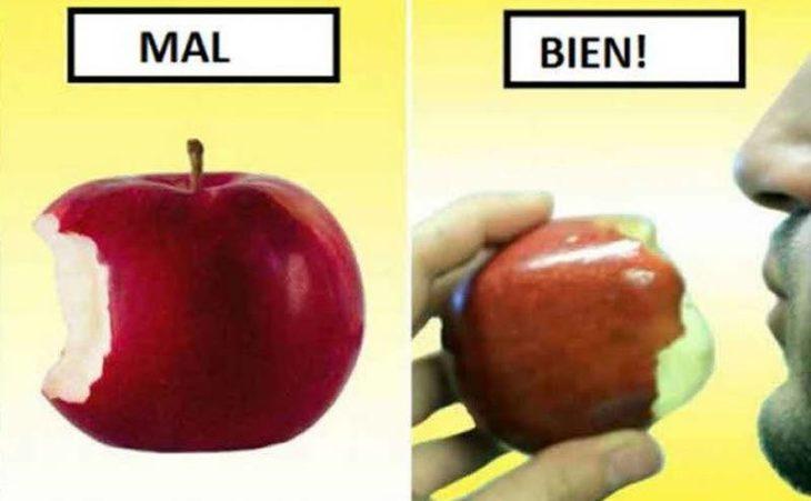 cómo comerte una manzana