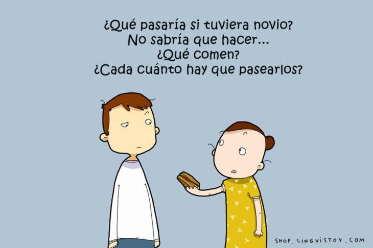 ilustración de una chica ofreciendo comida a un chico