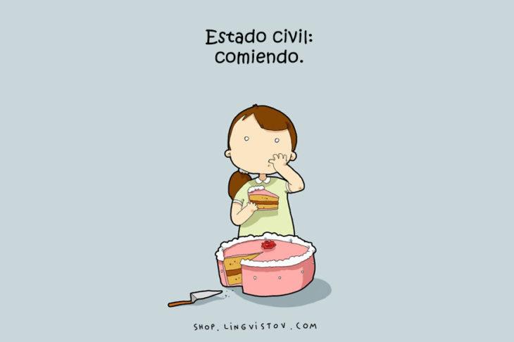 ilustración de una chica comiendo pastel