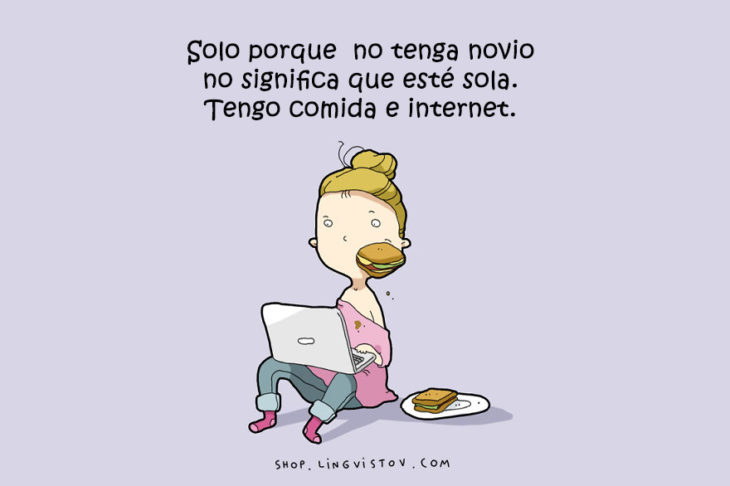 ilustración de una chica sentada en el suelo comiendo con una laptop sobre sus piernas