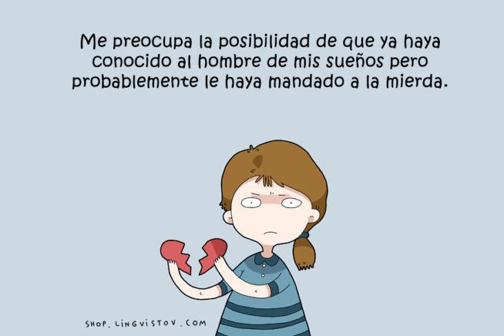 ilustración de una chica con el corazón roto