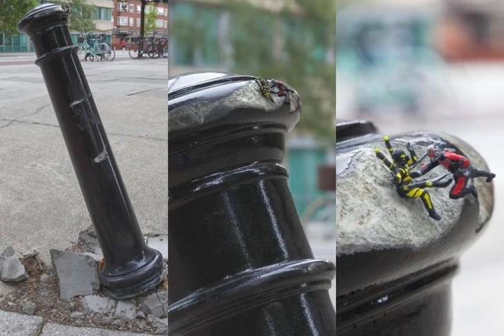 pequeño poste abollado con unos monitos de ant-man vs yellowjacket