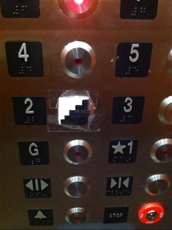 elevador con unas escaleras en el nivel dos de un elevador