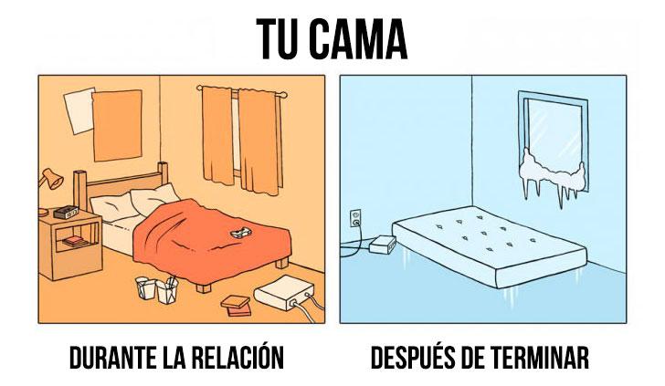 imagen de la cama en el antes y después de una relación