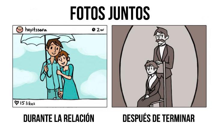 ilustración que muestra las fotos juntos durante y después de una relación amorosa