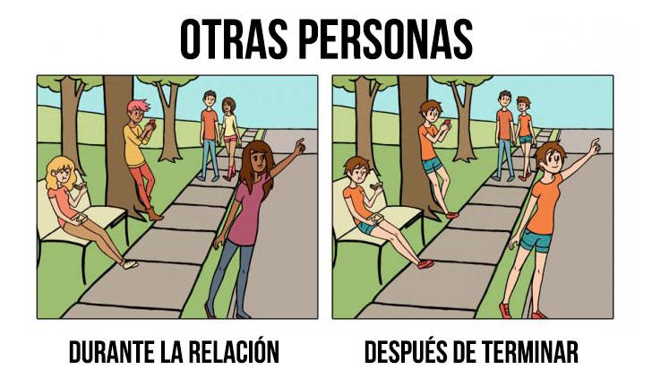 ilustración que muestra otras personas antes y después de una relación