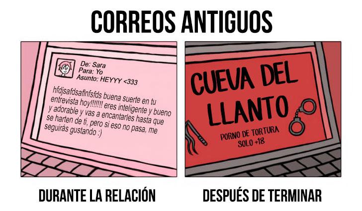 ilustración que muestra los correos antiguos del antes y después de una ruptura amorosa