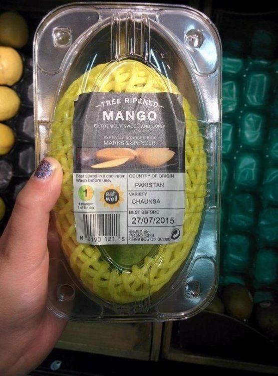 mango empaquetado para evitar que se magulle