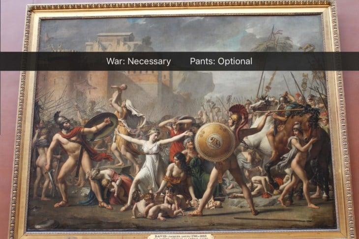 la guerra es más necesaria que los pantalones