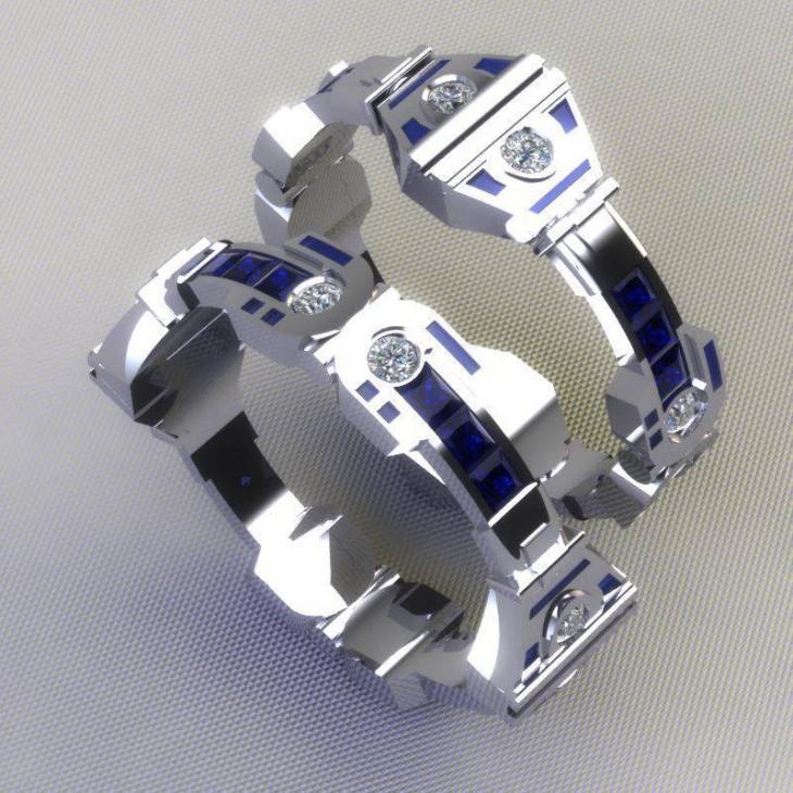 Anillo de compromiso con diseños de naves de Star Wars
