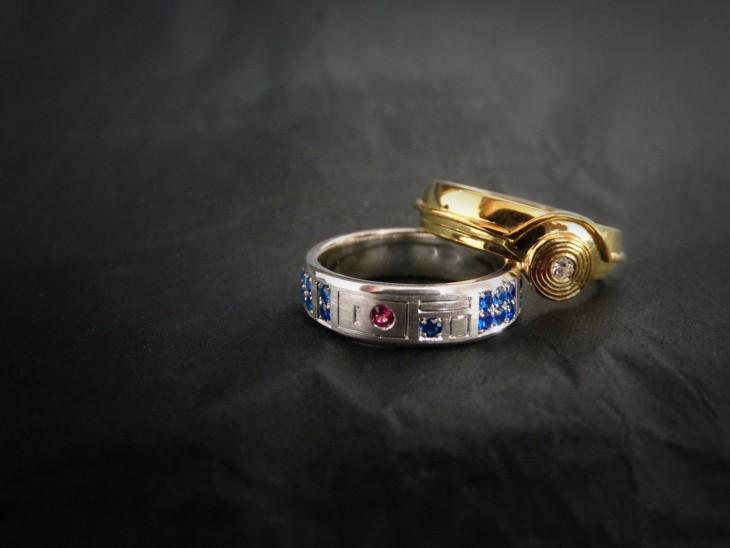 anillos de bodas con diseños de la película de star wars