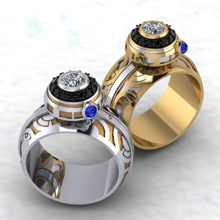 anillos de compromiso con el diseño de naves de Star Wars