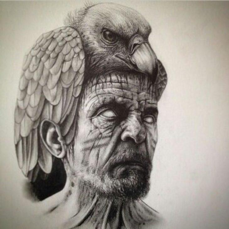 ilustración de un hombre con un perico en la cabeza