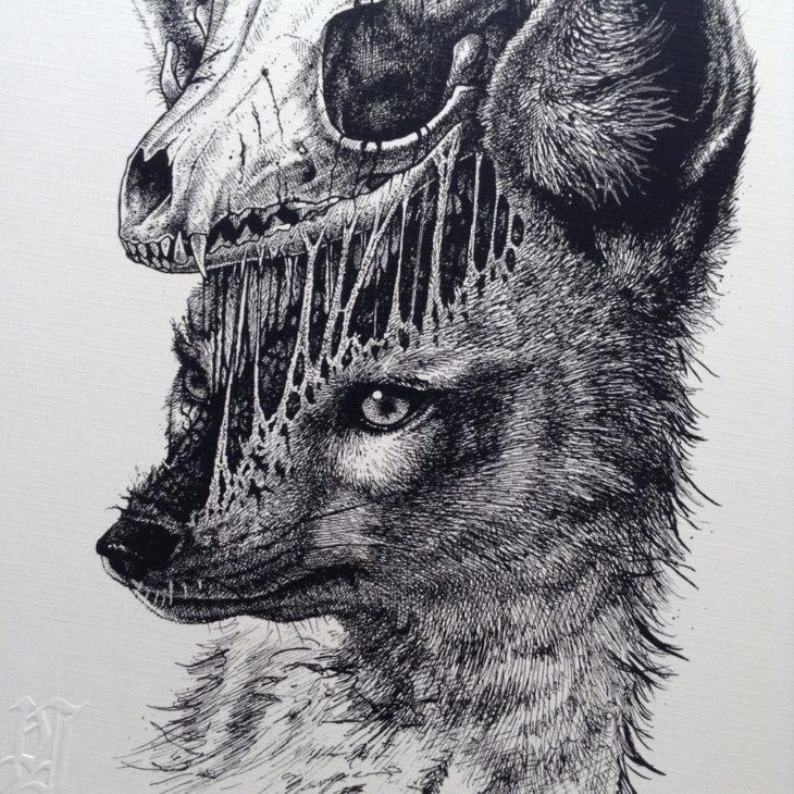 dibujo del esqueleto de un zorro desprendiéndose de su cuerpo