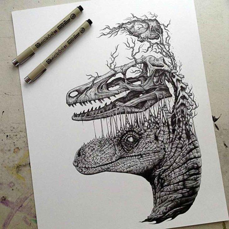 dibujo de la cara de un dinosaurio donde se puede ver desprendiéndose de su cuerpo su esqueleto