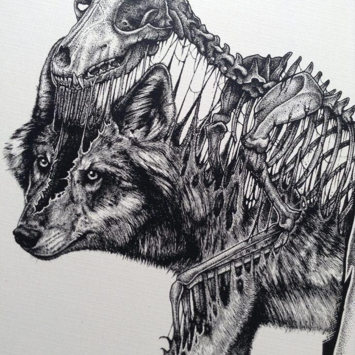 dibujo del esqueleto de un lobo desprendiéndose de su cuerpo