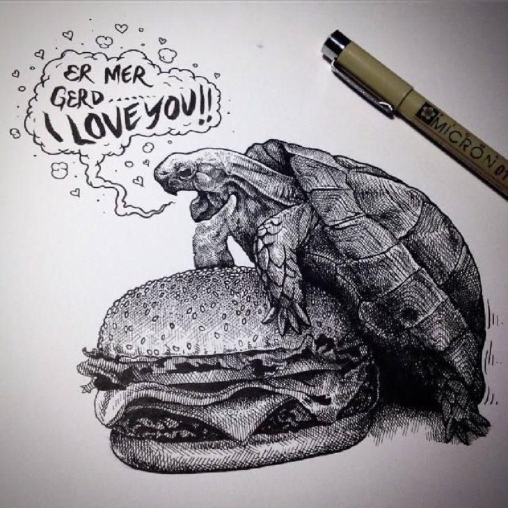 dibujo de una tortuga sobre una hamburguesa
