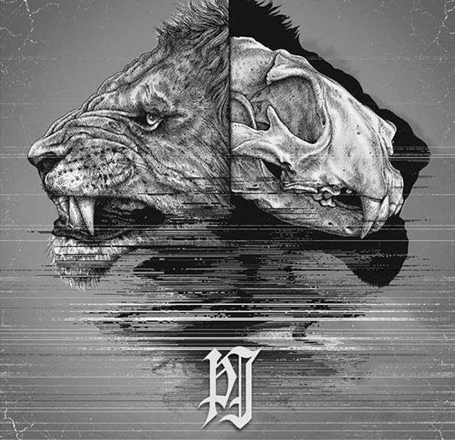 dibujo de la cabeza de un león donde se le puede ver el cráneo