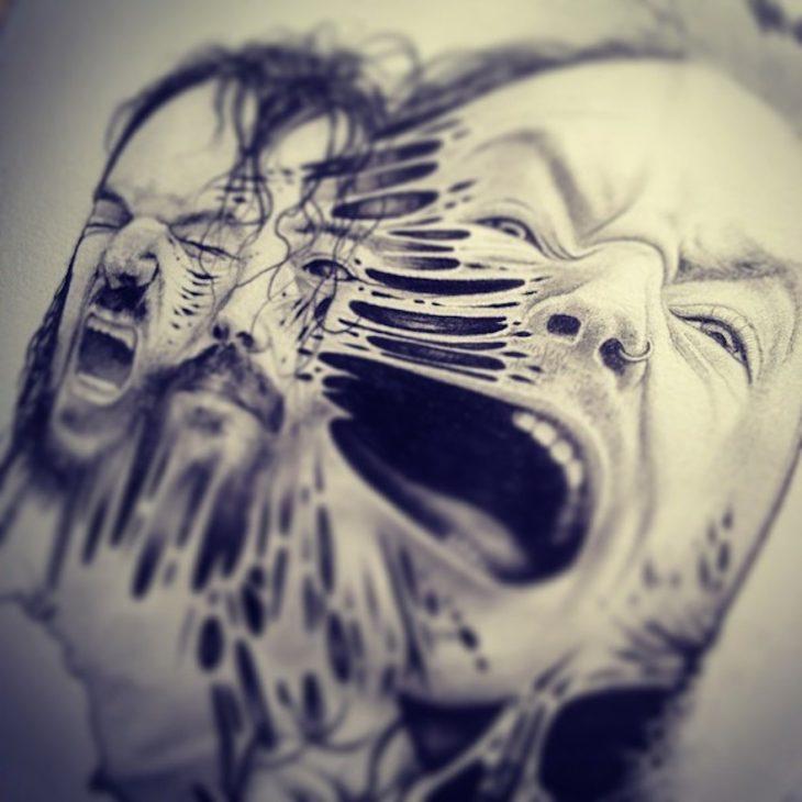 dibujo con tres caras donde se puede ver que sus esqueletos se desprenden