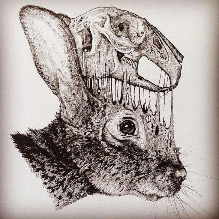 dibujo del cráneo de un conejo desprendiéndose de su cabeza