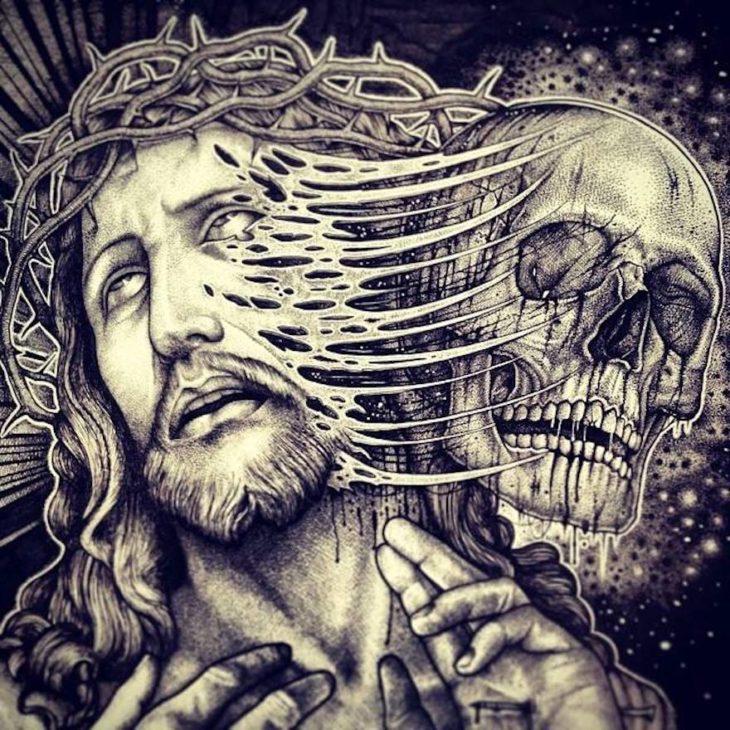 dibujo del cráneo de cristo desprendiéndose de su cabeza